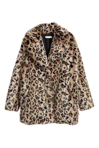 H&M leopard print faux fur jacket