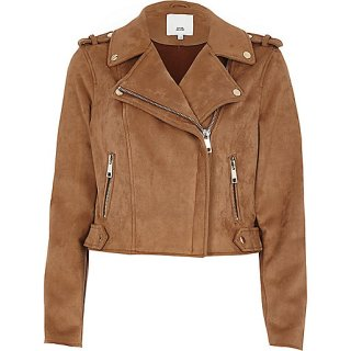 River Island Tan Faux Suede Biker Jacket